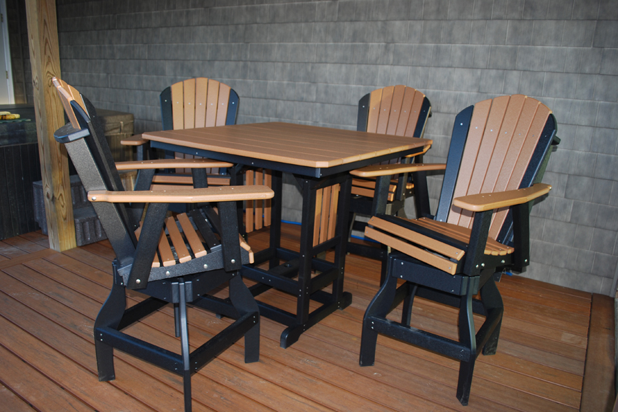 "44"" square bar height table and adirondack swivel dining chairs bar height all shown in cedar on black"