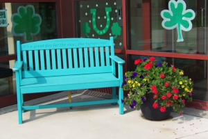 4' engraved garden bench shown in aruba blue