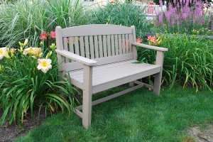four foot garden bench shown in weather wood
