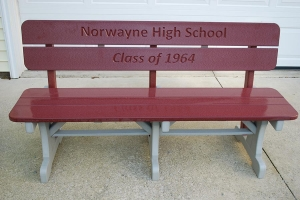 5 foot bench w/engraved back shown in cherry on light gray