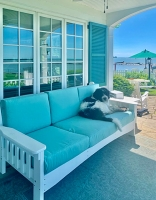 six foot sofa in white. cushions in spectrum mist sunbella fabric