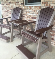 Counter Height Balcony Set with cup holders shown in Brown on Weatherwood
