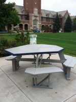 Handicapped accessible Octagonal Table w/attached benches shown in Light Gray