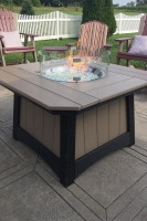 poly fire pit regular height in weatherwood on black