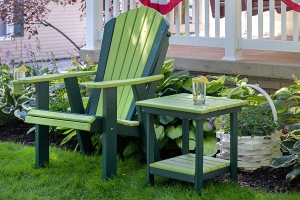 adirondack gs chair and end table shown in lime on green