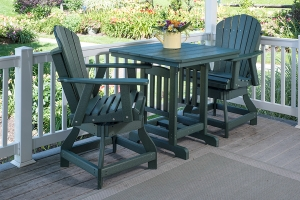 square, counter height table w/ adirondack swivel chairs, counter height shown in green