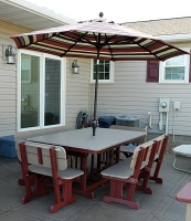 "6' x 44"", regular height Dining Table and Benches w/Backs shown in Weatherwood on Cherry,"