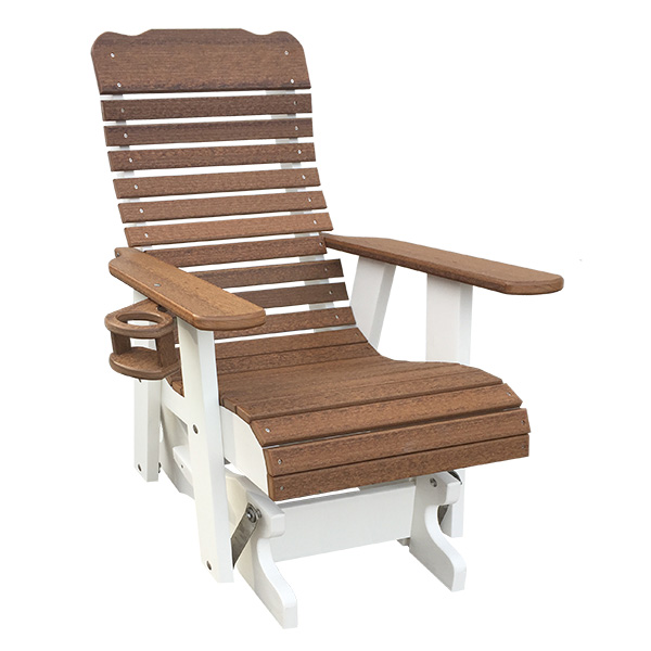 2ft high back glider in new mahogany color on white
