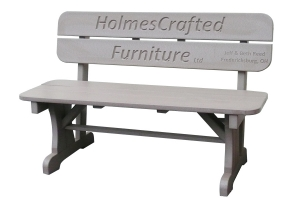 4ft rectangular bench with back