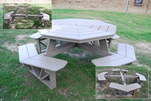 octagon table with attached benches